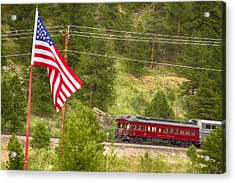 Cyrus K. Holliday Rail Car And Usa Flag Acrylic Print by James BO  Insogna