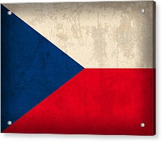 Czech Republic Flag Vintage Distressed Finish Acrylic Print by Design Turnpike