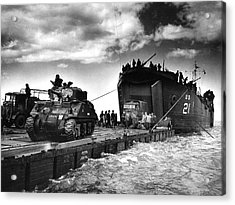 D-day Landings Harbour Acrylic Print by Us National Archives