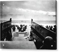 D-day Landings Acrylic Print by Robert F. Sargent, Us Coast Guard