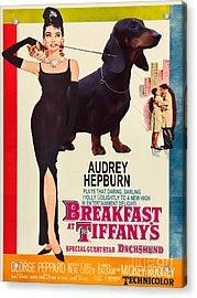 Dachshund Art Canvas Print - Breakfast At Tiffany Movie Poster Acrylic Print by Sandra Sij