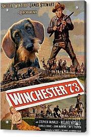 Dachshund Art Canvas Print - Winchester 73 Movie Poster Acrylic Print by Sandra Sij