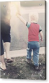 Dad Teach Son Road Safety Lessons Acrylic Print