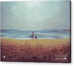 Daddy At The Beach Acrylic Print