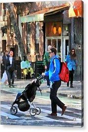 Daddy Pushing Stroller Greenwich Village Acrylic Print by Susan Savad