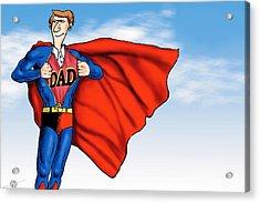 Daddys Home Superman Dad Acrylic Print by Tony Rubino