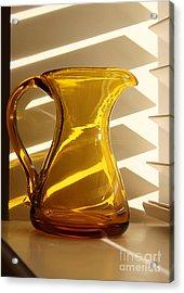 Dad's Amber Pitcher By Blenko Glass Acrylic Print by Karen Adams