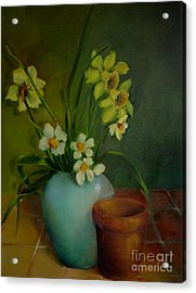 Daffodils                   Copyrighted Acrylic Print by Kathleen Hoekstra