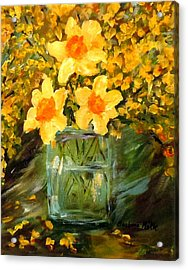 Daffodils And Forsythia Acrylic Print by Barbara Pirkle