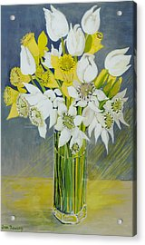 Daffodils And White Tulips In An Octagonal Glass Vase Acrylic Print by Joan Thewsey