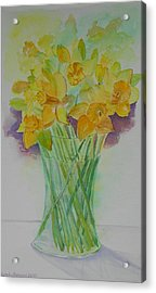 Daffodils In Glass Vase - Watercolor - Still Life Acrylic Print by Geeta Biswas