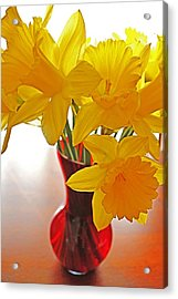 Acrylic Print featuring the photograph Daffodils In Red Vase by Diane Alexander