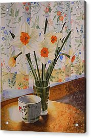 Daffodils With Red Ribbon Acrylic Print by Adel Nemeth