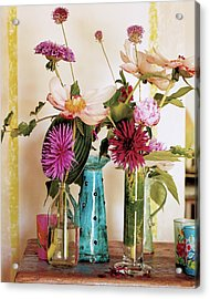 Dahlias And Peonies In Majolica Vases Acrylic Print