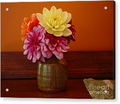 Acrylic Print featuring the photograph Dahlias by Christopher Mace