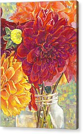 Dahlias In A Canning Jar Acrylic Print