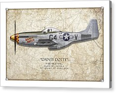 Dainty Dotty P-51d Mustang - Map Background Acrylic Print by Craig Tinder