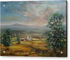 Acrylic Print featuring the painting Dairy Farm Pennsylvania by Katalin Luczay