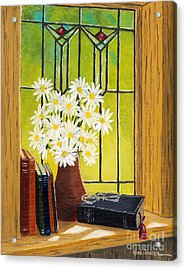 Daisies And Stained Glass Window Acrylic Print