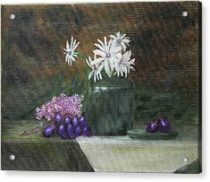 Daisies In Green Vase Acrylic Print