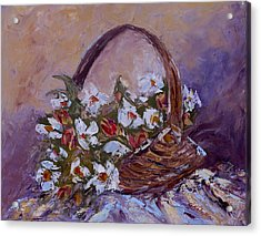 Daisies In The Old Basket Acrylic Print