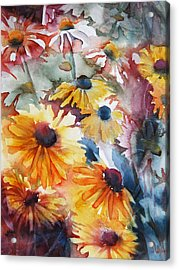 Acrylic Print featuring the painting Daisies by Jani Freimann