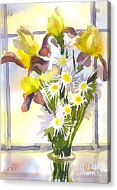Daisies With Yellow Irises Acrylic Print by Kip DeVore