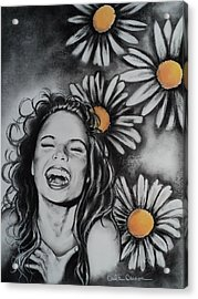 Acrylic Print featuring the drawing Daisy by Carla Carson