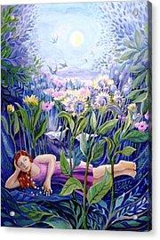 Daisy Chain Acrylic Print by Trudi Doyle