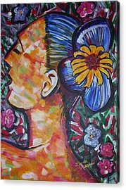 Daisy Acrylic Print by Linda Vaughon
