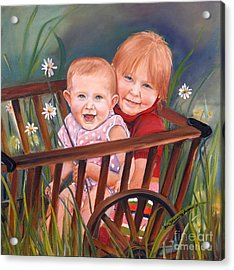 Daisy - Portrait - Girls In Wagon Acrylic Print