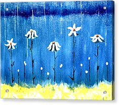 Daisy Rain Blue Acrylic Print by Denise Tomasura