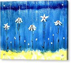 Acrylic Print featuring the painting Daisy Rain Blue by Denise Tomasura