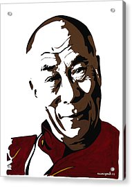 Dalai Lama Acrylic Print by Nancy Mergybrower