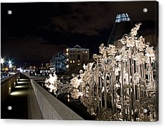 Dale Chihuley Exhibit Outdoors @ Night - Museum Of Glass Tacoma Wa Acrylic Print