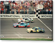 Dale Earnhardt Richard Petty And Rusty Wallace Race At Michigan Acrylic Print by Retro Images Archive