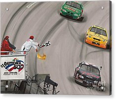 Dale Earnhardt Wins Daytona 500-checkered Flag Acrylic Print by Paul Kuras