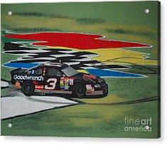 Dale Earnhardt Wins Daytona 500-infield Doughnuts Acrylic Print by Paul Kuras