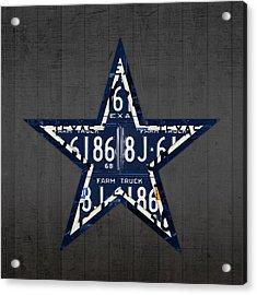 Dallas Cowboys Football Team Retro Logo Texas License Plate Art Acrylic Print