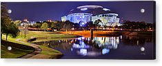 Acrylic Print featuring the photograph Dallas Cowboys Stadium At Night Att Arlington Texas Panoramic Photo by Jon Holiday