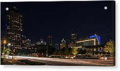 Dallas Night Skyline From Klyde Warren Park Acrylic Print