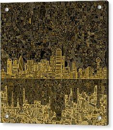 Dallas Skyline Abstract 3 Acrylic Print by Bekim Art
