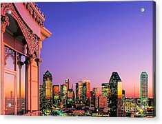 Acrylic Print featuring the photograph Dallas Skyline At Dusk by David Perry Lawrence