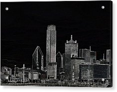 Dallas Skyline In Black - Center Acrylic Print