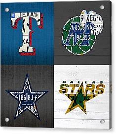 Dallas Sports Fan Recycled Vintage Texas License Plate Art Rangers Mavericks Cowboys Stars Acrylic Print