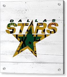 Dallas Stars Hockey Team Retro Logo Vintage Recycled Texas License Plate Art Acrylic Print by Design Turnpike