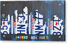 Dallas Texas Skyline License Plate Art By Design Turnpike Acrylic Print