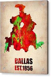 Dallas Watercolor Map Acrylic Print by Naxart Studio