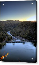 Acrylic Print featuring the photograph Dam Across The River by Jonny D