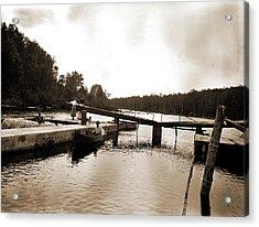 Dam And Lock, Saranac River, Adirondack Mtns Acrylic Print